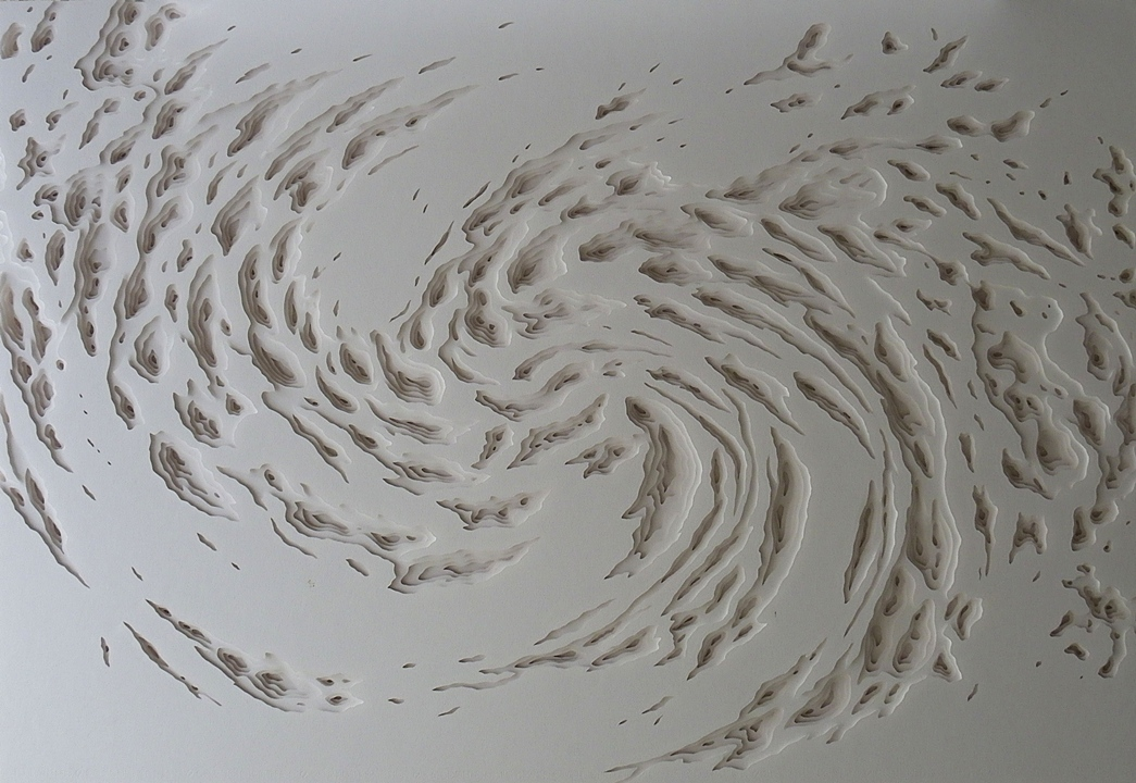Hand cut layered paper sculpture